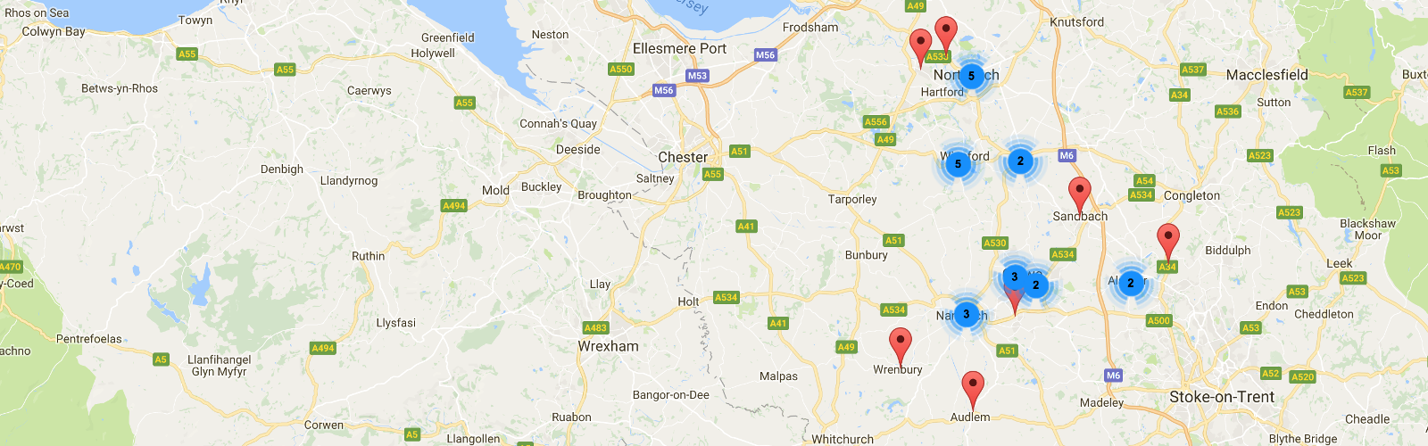 Map of GP Practices within South Cheshire and Vale Royal GP Alliance