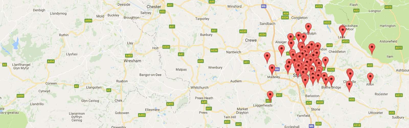 Map of GP Practices in North Staffordshire GP Federation