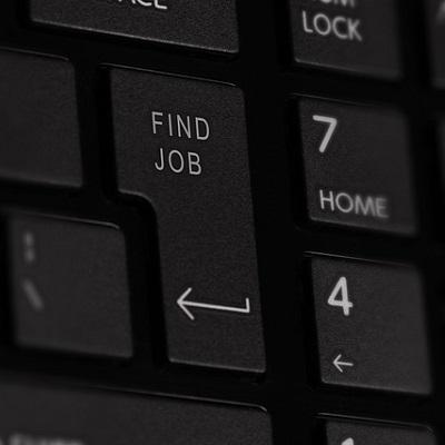Computer keyboard with Find Job key